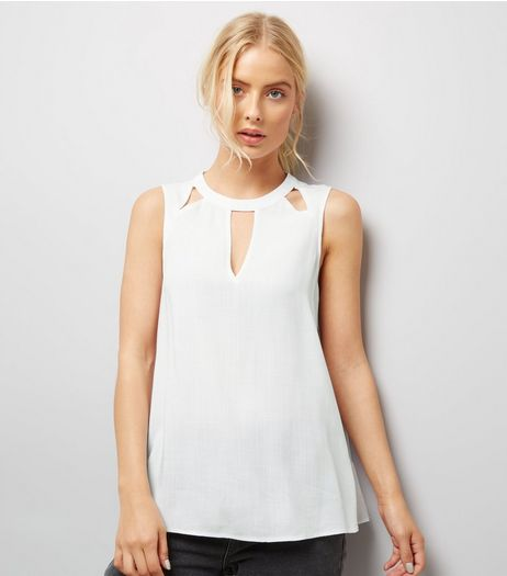 White Cut Out Front Sleeveless Top  | New Look