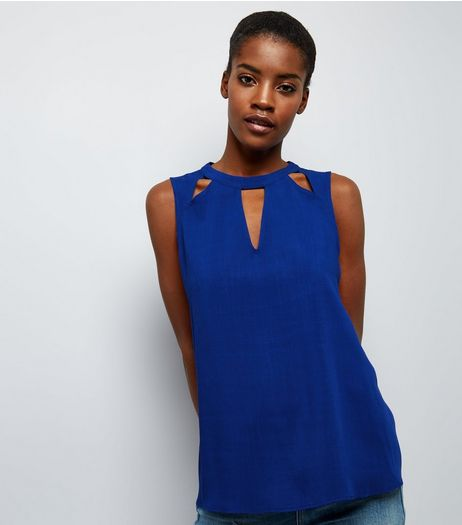 Blue Cut Out Sleeveless Top  | New Look