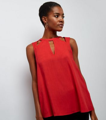 Red Cut Out Sleeveless Top