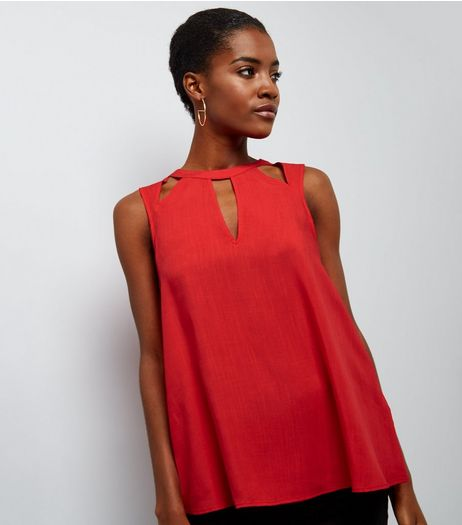 Red Cut Out Sleeveless Top  | New Look