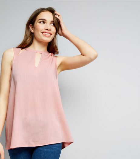 Shell Pink Cut Out Sleeveless Top | New Look
