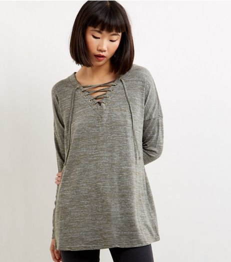 Apricot Grey Lace Up Front Top | New Look