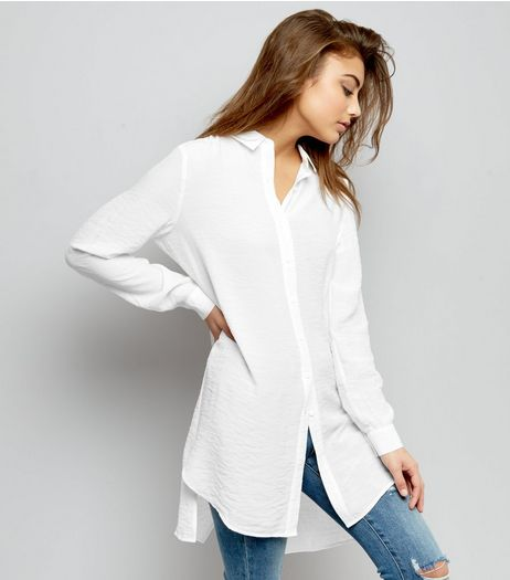 White Split Back Long Sleeve Shirt  | New Look