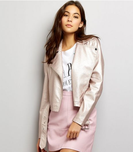 Pink Metallic Leather-Look Biker Jacket  | New Look