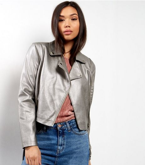 Silver Metallic Leather-Look Biker Jacket  | New Look
