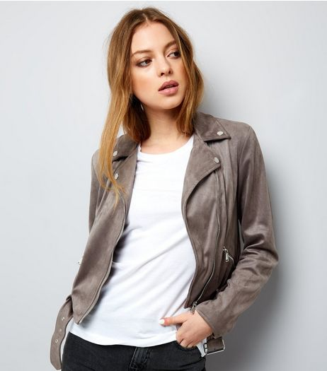 Grey Suedette Jacket  | New Look