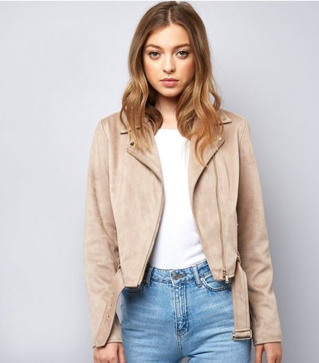 Stone Suedette Jacket  | New Look