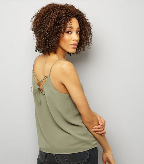 Khaki Lace Back Cami Top  | New Look