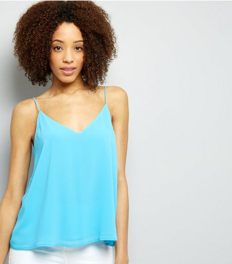 Turquoise Lace Up Back Cami Top | New Look