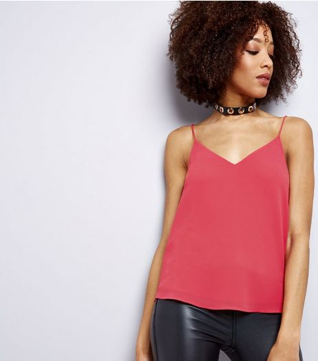 Bright Pink Lace Back Cami Top  | New Look