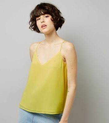 Yellow Lace Up Back Cami Top