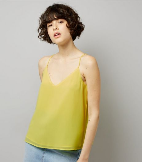 Yellow Lace Up Back Cami Top | New Look