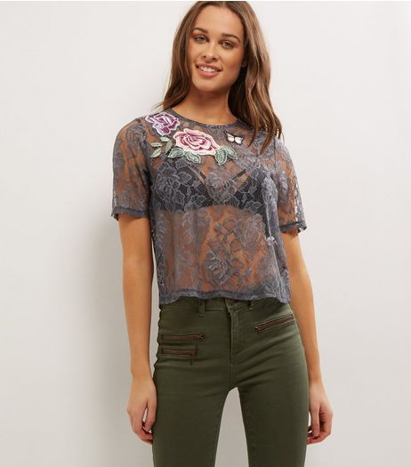 Grey Badge Lace Short Sleeve T-Shirt  | New Look