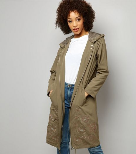 Khaki Floral Embroidered Hooded Duster Coat  | New Look