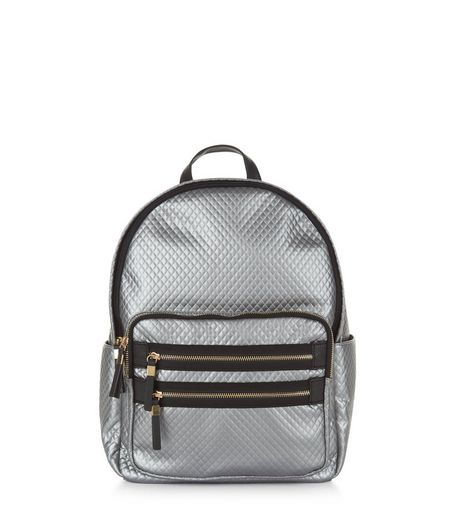 Silver Metallic Quilted Backpack | New Look