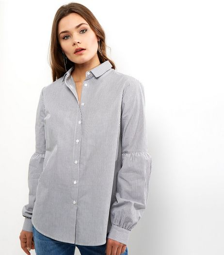 Light Grey Stripe Bell Sleeve Shirt | New Look