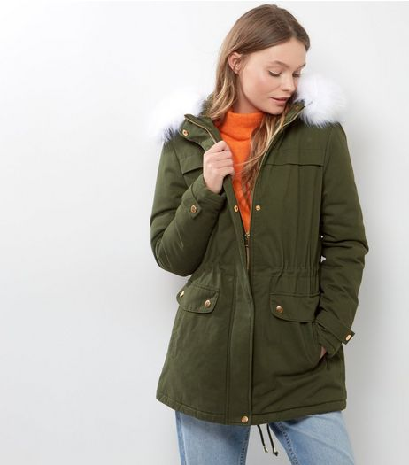 Khaki Contrast Faux Fur Trim Parka  | New Look