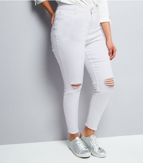 Curves White High Waist Ripped Skinny Jenna Jeans | New Look