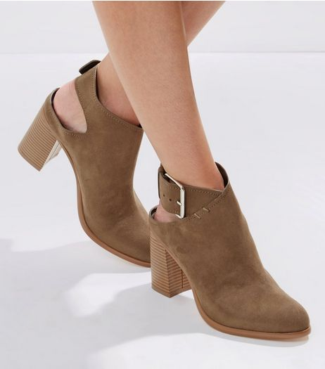 Khaki Suedette Cut Out Buckle Strap Heels | New Look