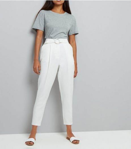 Petite White Circle Belt Slim Leg Trousers | New Look