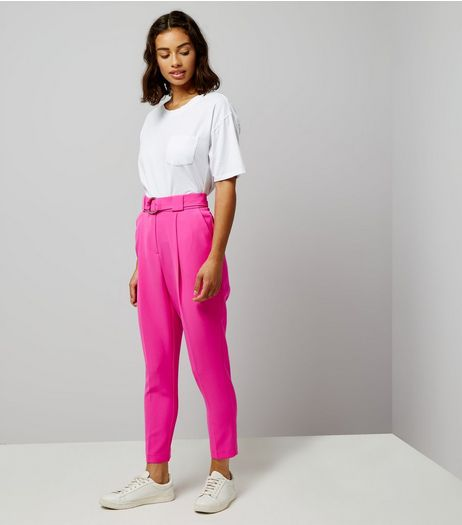 Petite Bright Pink Circle Belt Slim Leg Trousers | New Look