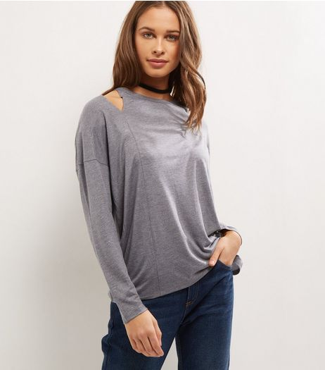 Grey Cut Out Long Sleeve Dip Hem Top | New Look