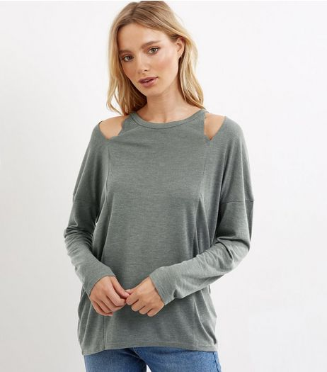 Khaki Cut Out Long Sleeve Top  | New Look