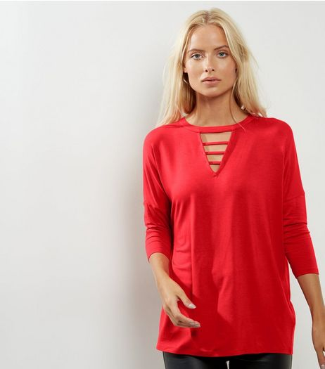 Red Strap Front 3/4 Sleeve Top | New Look