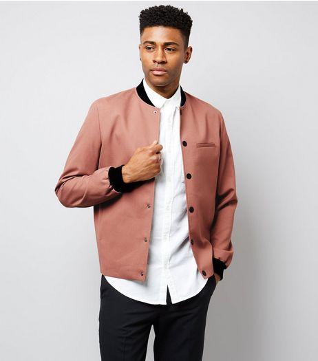 Deep Pink Popper Front Tailored Bomber Jacket | New Look