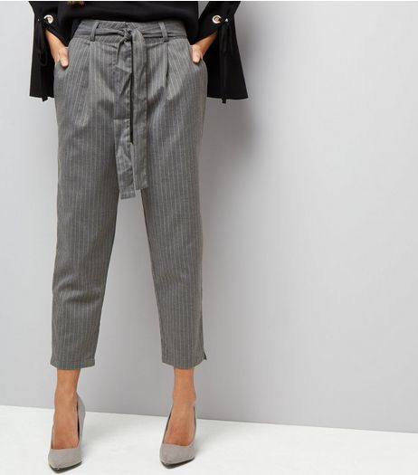 Petite Grey Pinstripe Tie Waist Trousers  | New Look