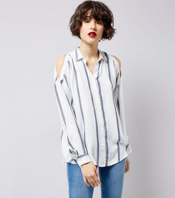 White Stripe Cold Shoulder Shirt