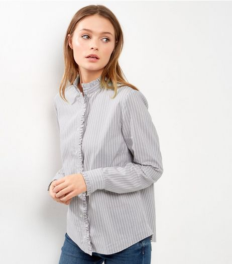 Light Grey Stripe Frill Trim High Neck Shirt | New Look