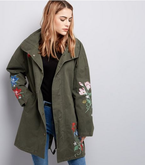 Khaki Floral Embroidered Parka  | New Look