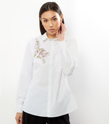 White Floral Badge Cotton Shirt | New Look