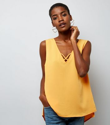 Yellow Cross Strap Front Sleeveless Top