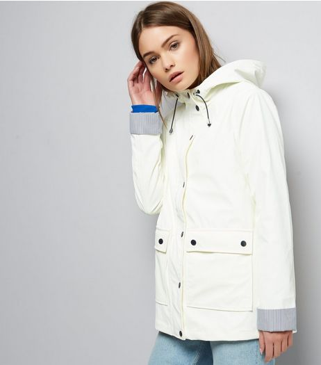 White Button Trim Stripe Hem Anorak  | New Look