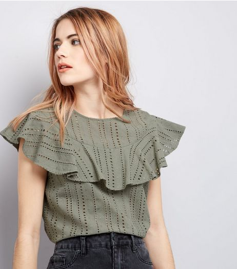 Khaki Cut Out Frill Trim Top  | New Look