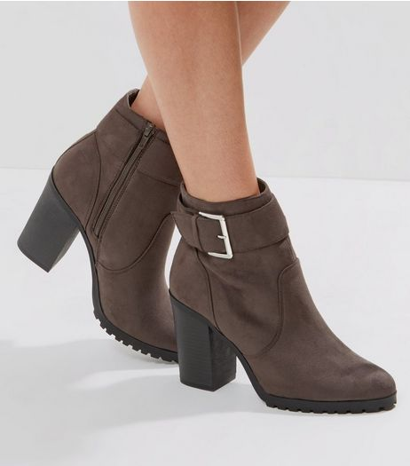 Dark Grey Suedette Buckle Side Heeled Ankle Boots | New Look