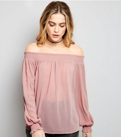 Shell Pink Cuffed Sleeve Bardot Neck Top | New Look