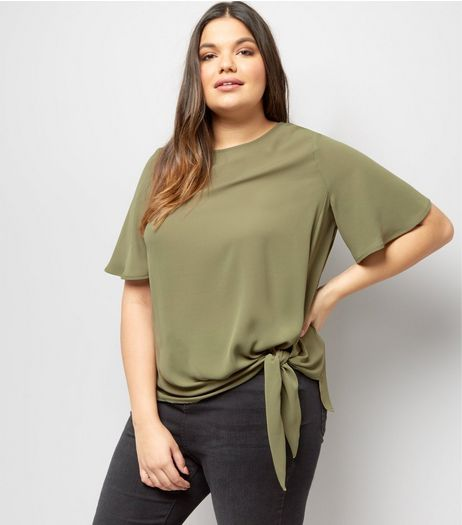 Curves Khaki Tie Side T-Shirt | New Look