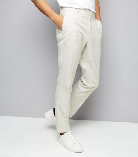 Off White Cross Hatch Skinny Tailored Trousers | New Look