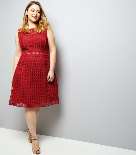 Curves Red Premium Lace Sleeveless Skater Dress | New Look