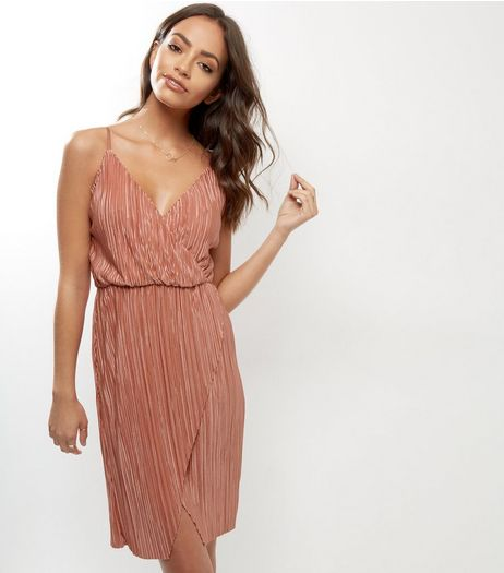 Cameo Rose Pink Pleated Wrap Front Dress | New Look