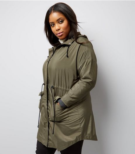 Curves Khaki Hooded Longline Jacket | New Look