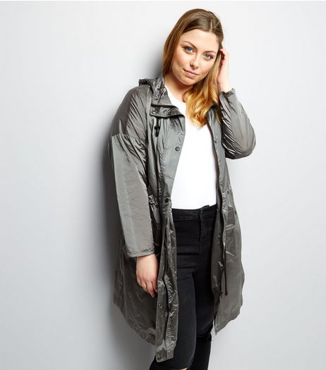 Curves Silver Hooded Longline Jacket | New Look