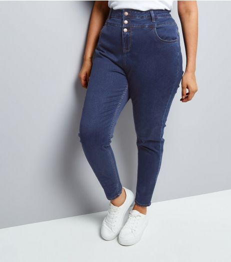 Curves Blue High Waist Skinny Yazmin Jeans | New Look