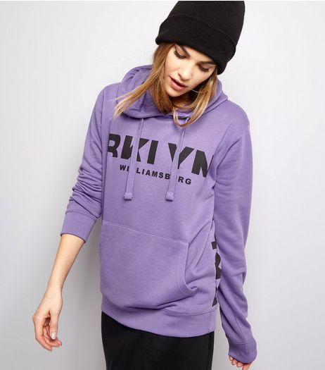 Purple Logo Print Hoodie  | New Look