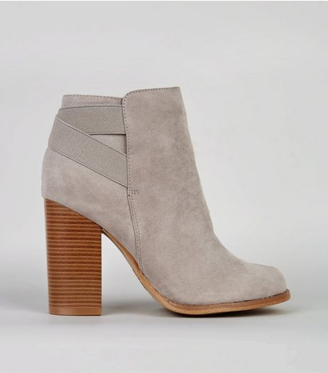Grey Suedette Elasticated Strap Contrast Heel Boots | New Look