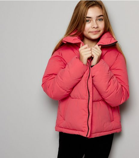 Teens Bright Pink Cropped Puffer Jacket | New Look