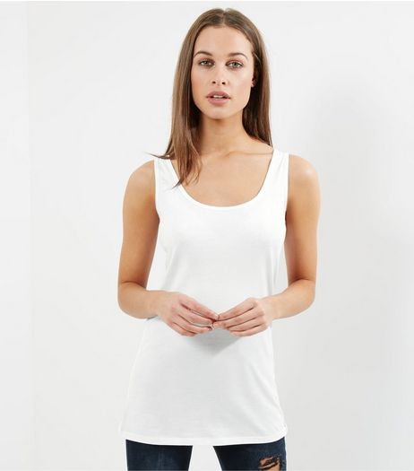 Tall White Scoop Neck Vest | New Look